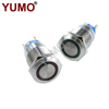 YUMO 19mm 12V Red Led Momentary Elevator Equip Metal Push Button
