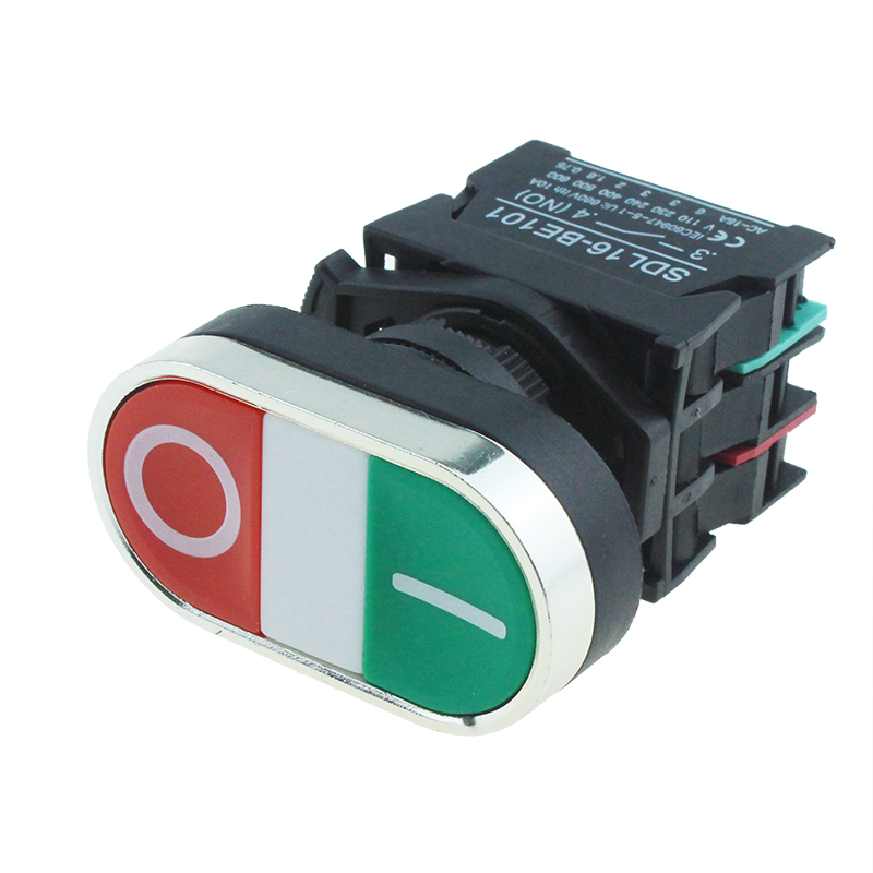 SDL16-CB8325 Red Green Flush Two Color IP40 Push Button Switch Without Pilot Light