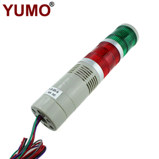 YUMO STP5-12-GR-H 50mm Buzzer 12VDC 2layer LED Signal Tower Flashing Warning Light