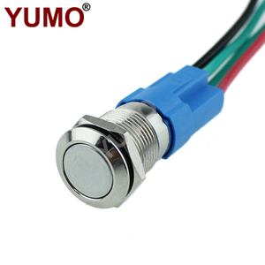 Flat Round Button 2Pin 12mm 36V Led Waterproof Metal Push Button Switch ON OFF